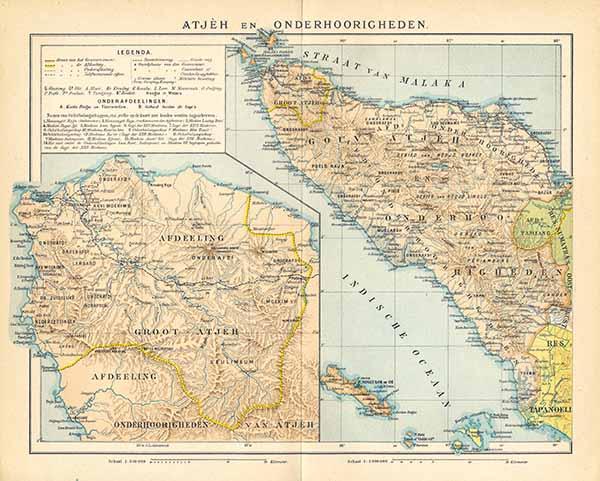 Kaart Atjeh en Onderhoorigheden