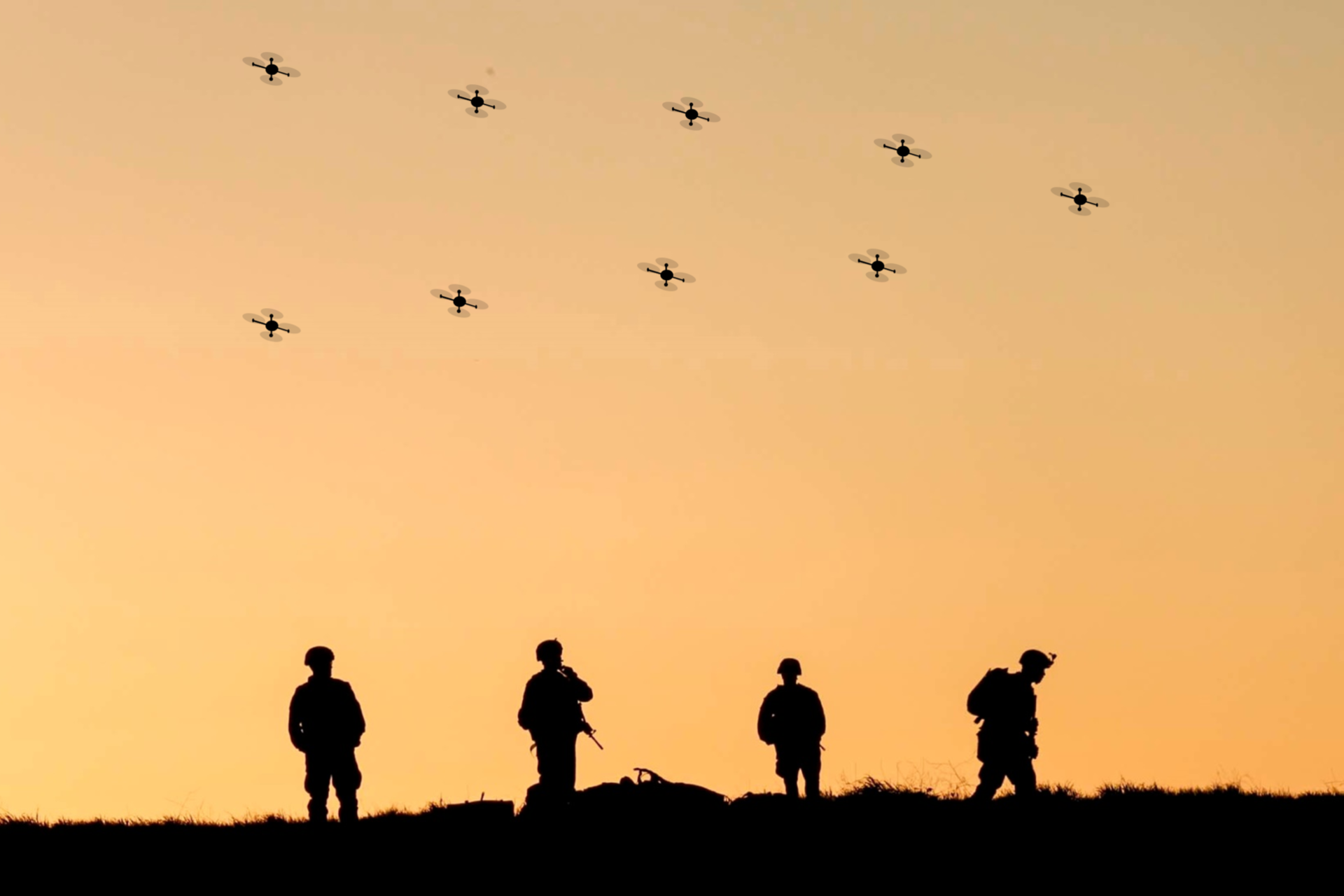 Future war concept: Swarming UAVs (Image courtesy of U.S. Army)